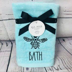 Rae Dunn BATH Bumblebee Hand Towels Set Of 2 NWT